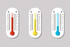Vectorpictogrammen van de meteorologiethermometers die van Celsius en Fahrenheit-hitte meten, normaal en koud in vlakke stijl Ont stock illustratie