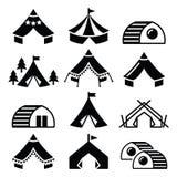 Vectorpictogrammen van het betoverende kamperen Stock Afbeelding