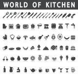 Vectorpictogrammen van keuken en voedsel Royalty-vrije Stock Foto