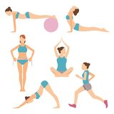 Vectorpictogrammen van mensen die bij de gymnastiek en de geschiktheid uitoefenen stock illustratie