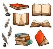 Vectorpictogrammen van oude boeken en manuscriptenschets royalty-vrije illustratie
