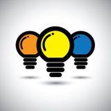 Vectorpictogrammen van reeks van 3 kleurrijke gloeilampen Stock Foto