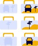 Vectorpictogrammen van reisgeval Stock Fotografie