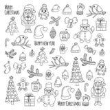 Vectorpictogrammen van Santa Claus Doodle van het Kerstmis stelt de Nieuwe jaar van het Suikergoedkerstmis van de Vogelskerstboom vector illustratie