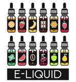 Vectorpictogrammen van smaken van elektronische sigaret stock illustratie