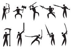 Vectorpictogrammen van Vechtsporten en Wapens Stock Foto