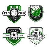 Vectorpictogrammen voor de club van de de voetbalventilator van het voetbalteam Stock Foto