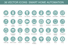 Vectorpictogrammen voor slimme huisautomatisering Stock Fotografie