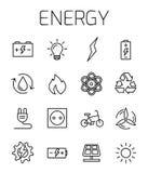 Vectorpictogramreeks in verband met energie stock illustratie