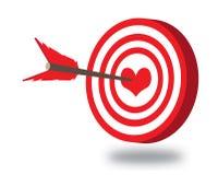 Vectorpijl in hart Royalty-vrije Stock Afbeelding