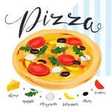 Vectorpizza met vele geïsoleerde componenten Italiaanse Pizza Ingred royalty-vrije illustratie