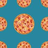 Vectorpizza naadloos patroon Kan worden gebruikt om menu, adreskaartjes te ontwerpen, affiches, die winkelvensters en signage ver Stock Afbeeldingen