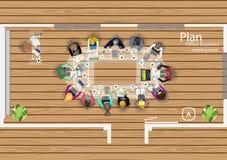 Vectorplan het werk van een commerciële vergadering, workshops en brainstorming Royalty-vrije Stock Fotografie