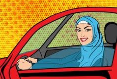 Vectorpop-art moslimvrouw in auto royalty-vrije stock fotografie