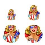 Vectorpop-artavatar, pictogram van speld omhoog sexy meisje in 3d glazen met popcorn en soda die op 3d film, film letten Stock Illustratie