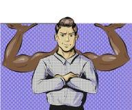 Vectorpop-artillustratie van de mens met machtsgebaar royalty-vrije illustratie