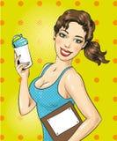 Vectorpop-artillustratie van fitness meisje met sportenfles stock illustratie