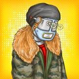 Vectorpop-artillustratie van robot, androïde in manierjasje Kunstmatige intelligentie, steampunk, cyborg concept royalty-vrije illustratie