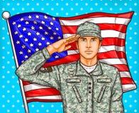 Vectorpop-artillustratie voor een herdenkingsdag - een mannelijke militair tegen een Amerikaanse vlag vector illustratie