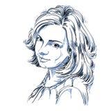 Vectorportret van aantrekkelijke vrouw, illustratie van wijfje Stock Foto