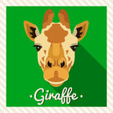 Vectorportret van een giraf Symmetrische portretten van dieren Vectorillustratie, groetkaart, affiche pictogram Dierlijk gezicht Stock Foto's