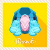 Vectorportret van een papegaai, veren, bek Symmetrische portretten van dieren Vectorillustratie, groetkaart, affiche Royalty-vrije Stock Afbeeldingen