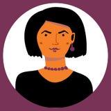 Vectorportret van gotic vrouw in een cirkel vector illustratie