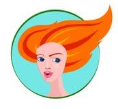 Vectorportret van Meisje met Lang Rood Haar Royalty-vrije Stock Afbeelding