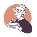 Vectorportret van mooie grootmoeder en naar huis gemaakte pastei, voor u royalty-vrije illustratie