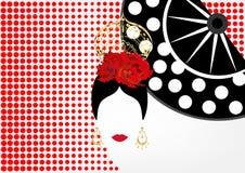Vectorportret van traditionele Latijn of Spaansedanser, Dame met gouden toebehorenpeineta, oorringen en rode bloem, VENTILATOR Royalty-vrije Stock Afbeelding