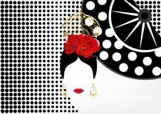 Vectorportret van traditionele Latijn of Spaansedanser, Dame met gouden toebehorenpeineta, oorringen en rode bloem, VENTILATOR royalty-vrije illustratie