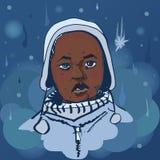 Vectorportret zwarte jongen onder de sneeuw vector illustratie