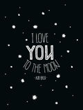 Vectorposter I Love you to the moon and back Royalty Free Stock Photography
