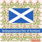 Vectorprentbriefkaar aan de Onafhankelijkheidsdag van Schotland met een patroon van een distel vector illustratie