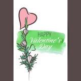Vectorprentbriefkaar, de dag van Valentine Royalty-vrije Stock Foto's