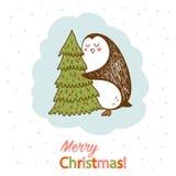 Vectorprentbriefkaar met een pinguïn die Kerstmisboom koesteren royalty-vrije illustratie