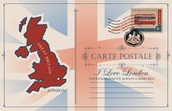 Vectorprentbriefkaar met kaart en vlag van Groot-Brittannië vector illustratie