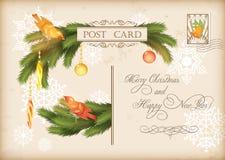 Vectorprentbriefkaar van de Kerstmis de Uitstekende Vakantie Stock Foto