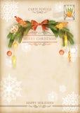 Vectorprentbriefkaar van de Kerstmis de Uitstekende Vakantie Stock Fotografie