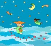 Vectorprentbriefkaar van het vliegen kleine engelen met harten boven hemel stock illustratie