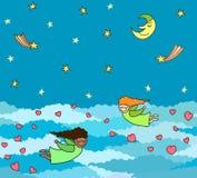 Vectorprentbriefkaar van het vliegen kleine engelen met harten boven nacht royalty-vrije illustratie