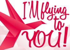 Vectorprentbriefkaarontwerp met rode origamivogel Stock Fotografie