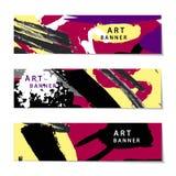 Vectorreeks abstracte artistieke geschilderde horizontale banners Royalty-vrije Stock Afbeeldingen