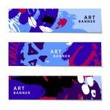 Vectorreeks abstracte artistieke geschilderde horizontale banners Royalty-vrije Stock Foto