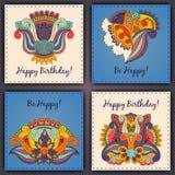 Vectorreeks abstracte hand getrokken krabbels van de verjaardagskaart royalty-vrije stock afbeelding
