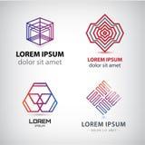 Vectorreeks abstracte vormen, emblemen, geïsoleerde pictogrammen Stock Afbeeldingen