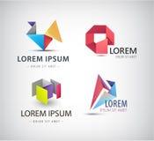 Vectorreeks abstracte vormen, emblemen, geïsoleerde pictogrammen Royalty-vrije Stock Foto