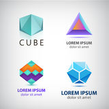 Vectorreeks abstracte vormen, emblemen, geïsoleerde pictogrammen Royalty-vrije Stock Afbeeldingen