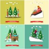 Vectorreeks affiches van de de winterpret in vlakke stijl stock illustratie