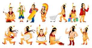Vectorreeks Amerikaanse illustraties van Indiërs stock illustratie